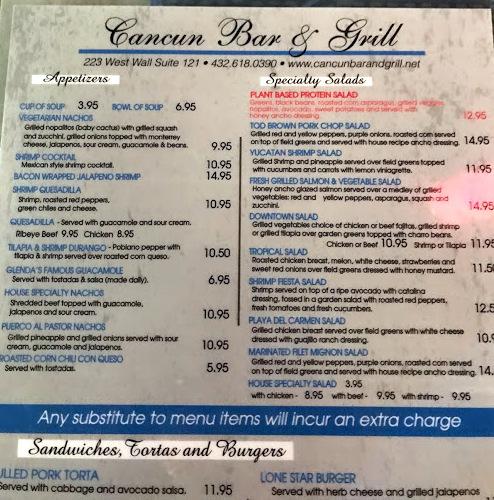 Cancun Bar and Grill Menu – Midland Menus