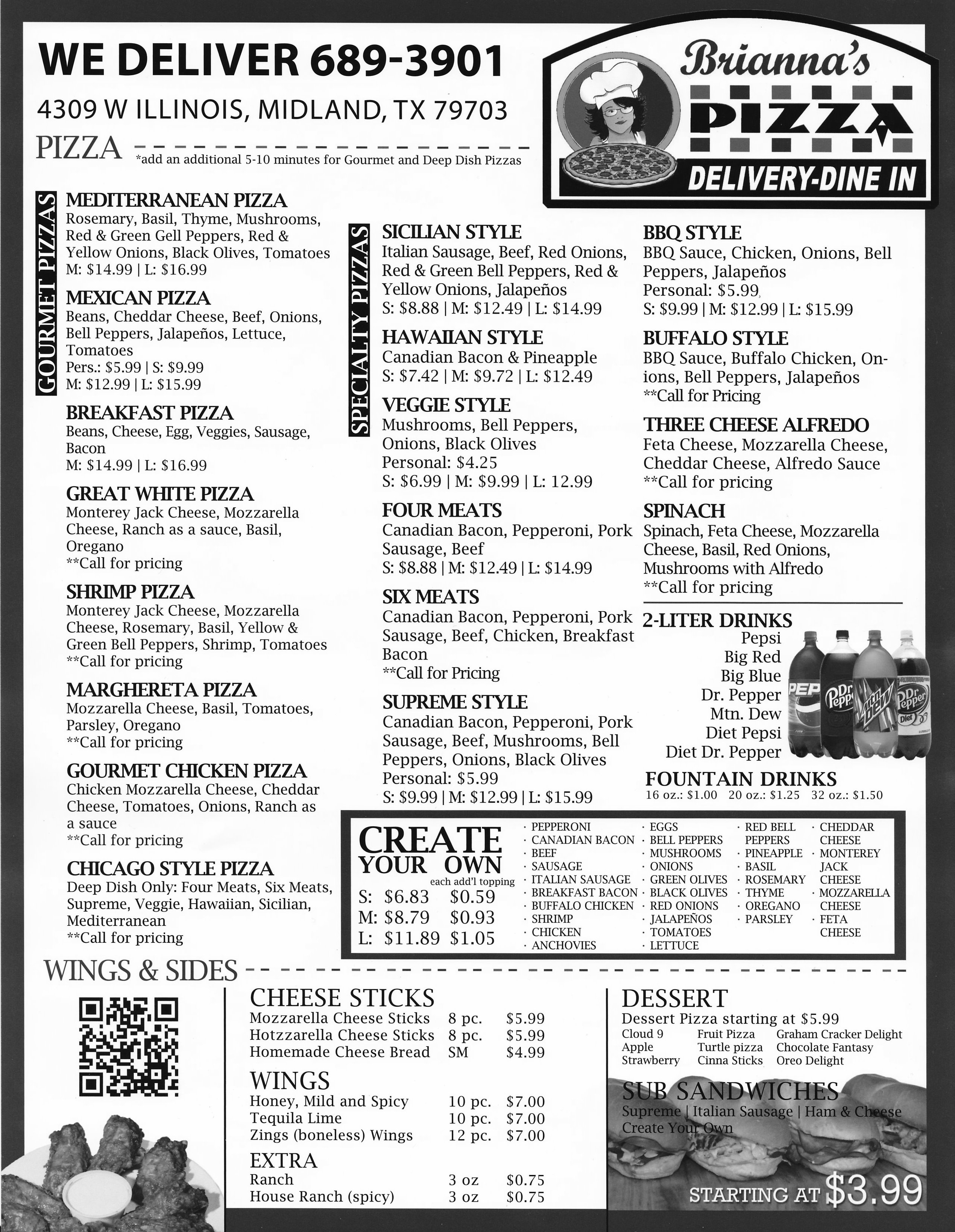 Brianna\'s Pizza Menu – Midland, Texas