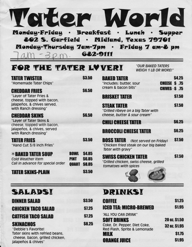 Tater World Tater Lover Menu